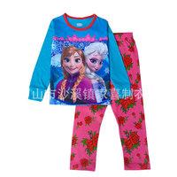 2015 New Spring kids Suits Girls Pajamas Baby Printed Pijamas Elsa Anna Pyjamas Children's Clothing set Kids Sleepwears