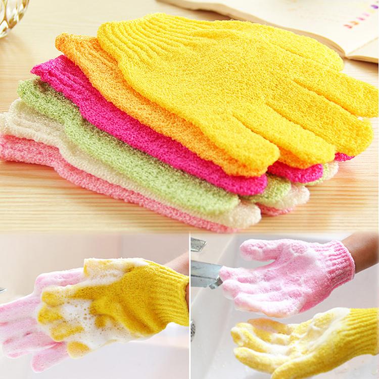 2015 New hot sale One Shower Exfoliating Wash Skin Spa Foam Bath Gloves Massage Loofah Scrubber Color Random Drop shipping(China (Mainland))
