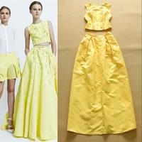 Free Shipping 2015  Women's Europe Fashion Appliques Short Top + Long Skirt 2 Piece Set Party Wear F16820