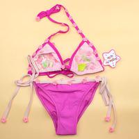 Free Shipping cute summer beach baby girl kids children's split flower butterfly swimsuit bikini swimwear swimming set size 3-12