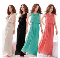Free Shipping Beach Dress Women Bohemia Pleated Wave Lace Strap Princess Chiffon Long Dress ys15004