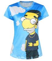 Woman Summer Cartoon Blue Sky Boy 3D T-shirts Women Tops Tees Short Sleeve T shirt