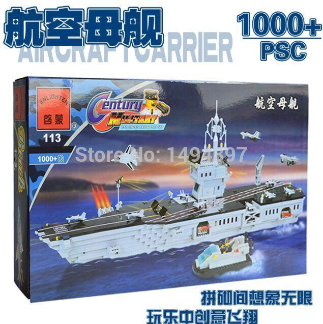Free Shipping ENLIGHTEN 113 Century Military Series Aircraft Carrier Model DIY Building Block Sets 1000+pcs Kid Educational Toys(China (Mainland))