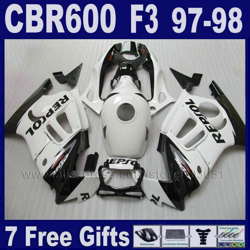 fairing kits white ABS plastic for Honda CBR600F3 1997 1998 CBR 600F3 97 98 7gifts customize free motobike fairings black tank(China (Mainland))