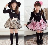 Wholesale Autumn Girl Clothing Princess Dress The Classic British Grid Children Dresses Pure Cotton Long Sleeve Kids Tutu Dress