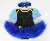 princess costume baby girl's short sleeved tutu bodysuit  +baby headbands 2pcs set  fluffy baby one-pieces