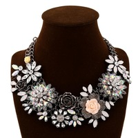 Big fashion retro exaggerated color crystal flower necklace, fashion jewelry, women's party banquet