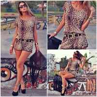 New Year is not closing 2015 Women Leopard Print jumpsuit short sleeve fashion cloth