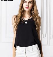 Loose chiffon sleeveless vest blouse irregular striped printing women shirts