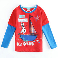 2015 New Design Tops Tees Boys Boat Printed T-shirt Baby Long Sleeve t-shirts Kids Olaf tshirts Children Cartoon Clothing