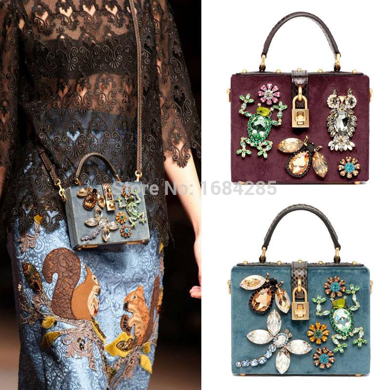 2014 fashion real leather handbag Rhinestone trunk bag vintage messenger bag lady bag box crossbody bag(China (Mainland))
