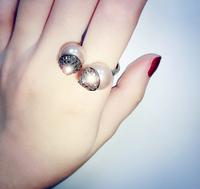 Korean designer style personality tide models rivet zircon pearl ring opening