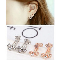 ES851 Hot Fashion 2015 New Star inlay imitation terrible sweet bow-shaped earrings Wholesale Jewelry Accessories