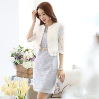 Women Summer Fall 2015 Three Quarter Sleeve Lace Crochet Small One Button Blazer Free Shipping&Wholesale Alipower LJ637DB