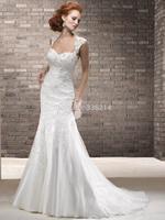 2015 New Long Mermaid Lace Wedding Dresses Cap Sleeve Fashionable Vestidos De Noiva Court Train Bride Dress Bridal Gowns