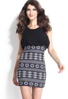 Women Summer Dresses Hot Sale Black Aztec Print Mini Dress Vestidos Femininos B5319 Fshow