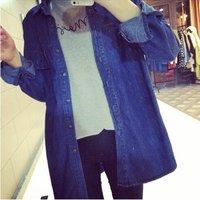 Punk Street Women Denim Coats Work Wear Female Outcoat Casual Turn-down Collar Stright Long Sleeve Jean Jackts T24-297