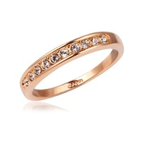 New Arrival Hot Gift Women Jewelry 18K Pink Rose Gold Plated Clear Round Channel Crystals Wedding Engagement Finger Band Ring
