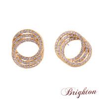 New Fashion Women Shiny AAA Zircon Crystal Earrings Three circles superimposed Stud Earrings Jewelry