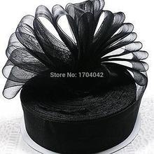 Free shipping!25mm Woven Edge Organza Ribbon 6 Colors Wedding Supplies - Black Gift(China (Mainland))