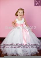 AFB340 2015 Hot Sale Retail Ribbon Bow 1Y-7Y White Girl Tutu  Dress For Birthday Photo Flower Girls Dress Custom Made