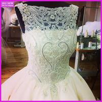 New Design Amazing High Neck Sleeveless Crystal Beading Ball Gowns Real Sample Wedding Dresses 2015 Custom Made MY-003