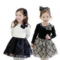 5pcs/lot girls spring autumn fashion long sleeve princess pear veil dresses kids dress with bow 1136