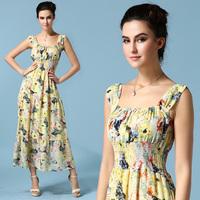 Dropshipping!2015 EUROPE Summer dress  Women Sleeveless Chiffon dress Fashion slim long dress