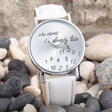 Hot Sale Who Cares I'm Already Late Irregular Figure Watch New Fashion Quartz Casual Watch 2015 Women Wristwatch Relogio Hours