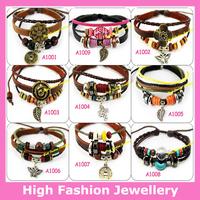 MA1001 Hot Sellings Mixed Styles High Quality Handmade Fashion Genuine Leather Charm Bracelets