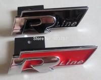by DHL 50pcs/lot red / black 3D metal Rline R  front grill badges car glue sticker for VW  embelms badge decoration