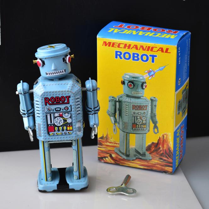 Retro Iron Tin Robot Wind Up Toys Classic Toys For Boys Vintage Handmade Crafts(China (Mainland))