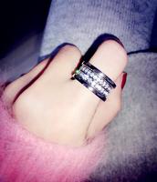 bu * g * ri double diamond titanium steel ring does not fade is not allergic