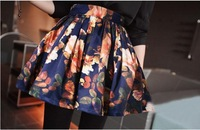 New Popular Flowers Printing Skirt High Waist Casual Puff Skirt Elastic Waist Short Skirts Free Shipping