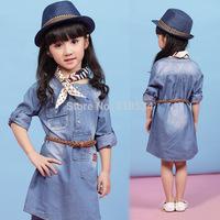 Wholesale Fashion girls fashion belt denim dresses kids 100% cotton long sleeve one piece children popular spring clothes
