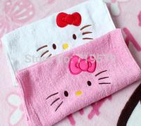 3PC/LOT Free Shipping 64*33CM Kid Hello Kitty Face Bathroom Towel Cotton Cartoon Girl Adult Men Soft Face Towel KT163