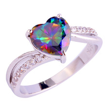 Eagagement Jewelry Heart Cut Rainbow Sapphire 925 Silver Ring Size 6 7 8 9 10 11 12 13 For Women Gift Wholesale Free Shipping