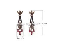 New vintage crystal flower teardrop tassel earrings long party earrings india fashion jewelry for women