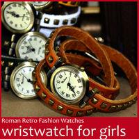 Fashion Women Vintage Cow Genuine Leather Band Punk Rivets Watch Lady Long Bracelet  Analog Roman Quartz Wrist Watch Wristwatch