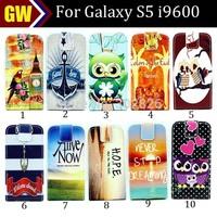 100pcs/lot Free Shipping 2 Credit Card Slots Elephant Bilding Hope Flip Leather Case for Samsung Galaxy S5 i9600