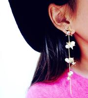 Korea flash created diamond star earrings pearl tassel earrings temperament long section