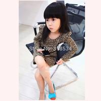 Wholesale Girls dresses children girls fashion leopard grain dress one-piece dress kids cute dresses