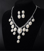 B X004 2014 Chinese Style Pearl Designs Crystal Rhinestone Necklace Earrings Fashion Jewelry Sets Party Wedding Accessories