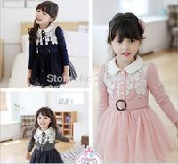 girls fashion gauze dresses children princess long sleeve one-piece kids autumn clothing wholesale 3 colors