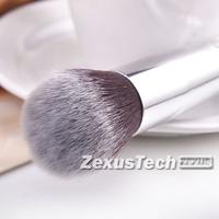 Makeup Brush Foundation Brush Round Top Wood White Handle Aluminum Tube Portable Quick Makeup Professional Multi-Function