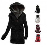 Retail Newest High Quality  Women Casual Thick Hooded Pullover Fleece Jacket Winter Warm Sweater Coat Outwear  Free Shipping