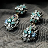 E0080 2014 Newest Europe Brand Vintage national fashion statement Alloy rhinestones Earrings brincos wholesale for women jewelry