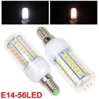 E14 18W 56 x 5730 SMD LED High Bright Warm White / White Light Corn Bulb Suit for Indoor Light / Yard Light