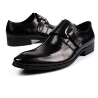 2015 new men's buckle strap genuine leather shoes pointed toe wedding party office shoes EU38-44 size 2colors handmade