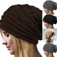 Free ShippingHot Sales Men's Women's Knit Baggy Beanie Oversize Ski Slouchy Winter Hat Chic Cap
